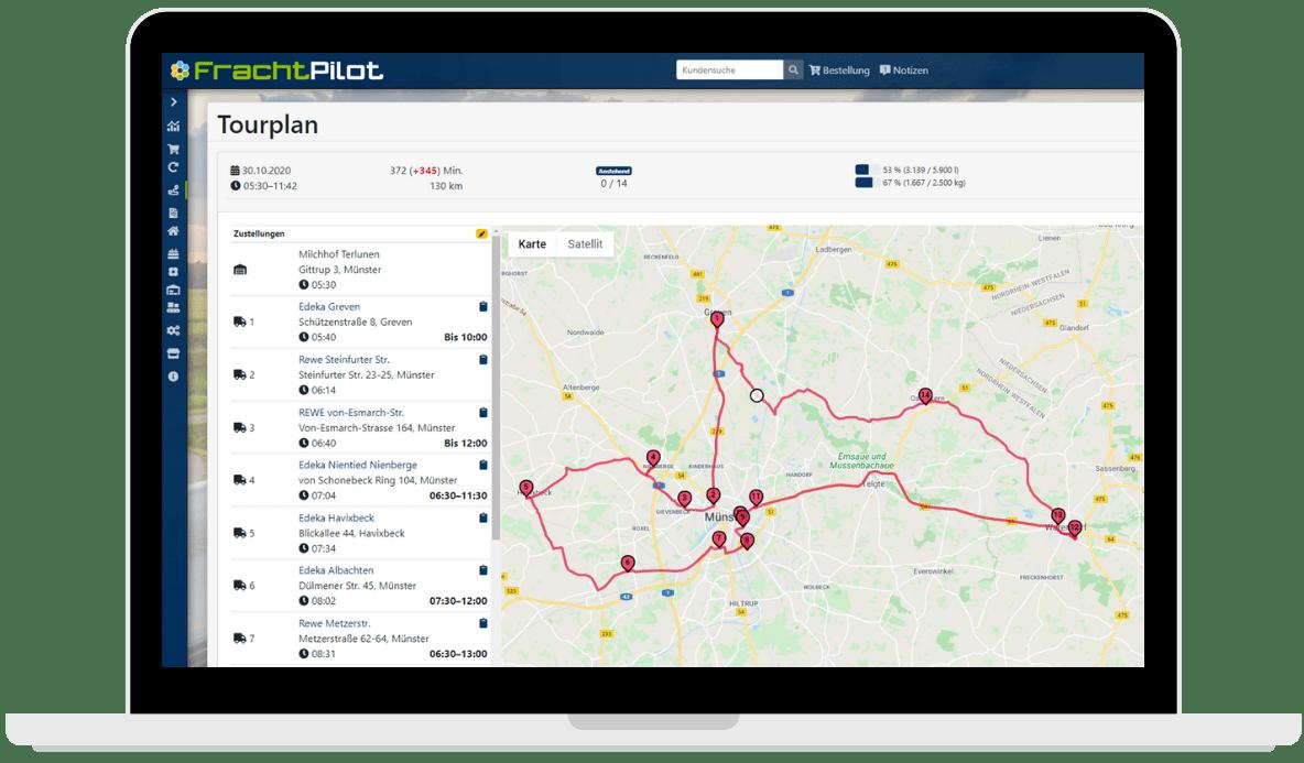 FrachtPilot Logo eFood Lieferservice Software Landwirtschaft Direktvermarktung Lebensmittel SaaS Cloud Software Tourführung Navigation Routenplanung Routenführung Tourplanung Tourenplanung