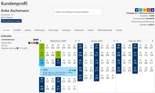 FrachtPilot Software Digitaler Hofladen Funktion Modul Kundenbestellungen Abo-Bestellung Einzelbestellung Kundenprofil